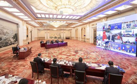 Chinese Premier Li Keqiang attends the 23rd China-ASEAN leaders' meeting, which is held via video link, at the Great Hall of the People in Beijing, capital of China, Nov. 12, 2020.
