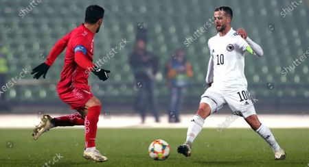 Miralem Pjanic (R) of Bosnia and Ehsan Hajsafi (L) of Iran in action during a friendly soccer match between Bosnia and Herzegovina vs Iran in Sarajevo, Bosnia and Herzegovina, 12 November 2020.