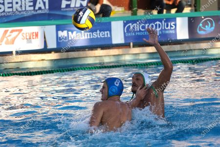 Valentino Gallo (C.C. Ortigia) Stojanac Robert (VK Jadran Split) during CC Ortigia vs VK Jadran Split, Waterpolo LEN Cup - Champions League Men match