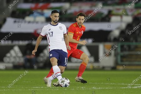 United States' Sebastian Lletget passes the ball during the international friendly soccer match between Wales and USA at Liberty stadium in Swansea, Wales