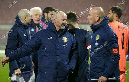 Scotland's head coach Steve Clarke (L) celebrates winning the UEFA EURO 2020 qualification playoff match between Serbia and Scotland in Belgrade, Serbia, 12 November 2020.