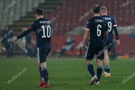 Scotland players react after Serbia's Luka Jovic scored his side's opening goal during the Euro 2020 playoff final soccer match between Serbia and Scotland, at the Rajko Mitic stadium in Belgrade, Serbia