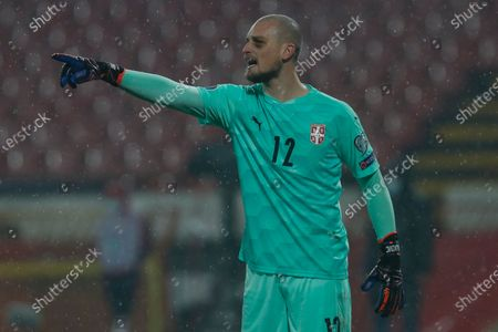 Serbia's goalkeeper Predrag Rajkovic reacts during the Euro 2020 playoff final soccer match between Serbia and Scotland, at the Rajko Mitic stadium in Belgrade, Serbia
