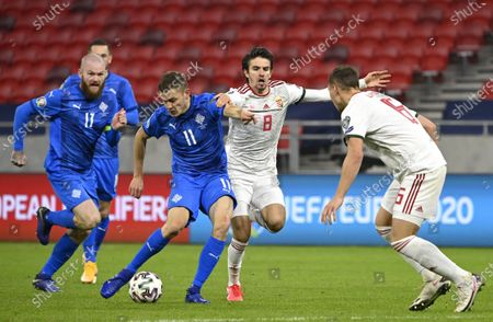 Alfred Finnbogason (2ND L) of Iceland and Adam Nagy (2ND R) of Hungary fight for the ball during the soccer UEFA EURO 2020 qualification play-off match Hungary vs. Iceland in Puskas Arena in Budapest, Hungary, 12 November 2020.