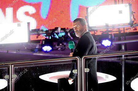 Roy Keane, working for ITV Sport at the England v Republic of Ireland International Friendly match at Wembley Stadium, London, UK on 12 November, 2020.
