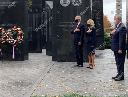 United States President-elect Joe Biden and his wife, Dr. Jill Biden lay a wreath at the Philadelphia Korean War Memorial in Philadelphia, Pennsylvania on Veterans Day,. They were accompanied by Mayor Jim Kenney (Democrat of Philadelphia).