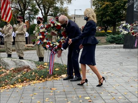 Editorial photo of Bidens Lay a Wreath at the Philadelphia Korean War Memorial, Philadelphia, Pennsylvania, USA - 11 Nov 2020