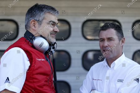 2017 DTM Round 9  Hockenheimring, Germany  Saturday 14 October 2017. Dieter Gass, Head of DTM Audi Sport with Tom Kristensen  World Copyright: Alexander Trienitz/LAT Images