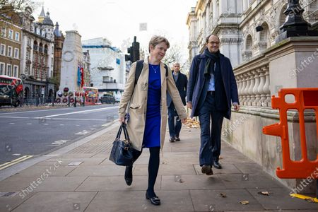 Head of NHS Test and Trace Dido Harding (centre) arrives at Downing Street.
