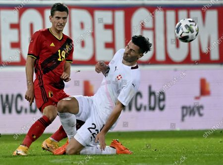 Belgium's Dennis Praet and Swiss Fabian Schar pictured in action during a friendly soccer game between the Belgian national team Red Devils and Switzerland, Wednesday 11 November 2020 in Leuven.
