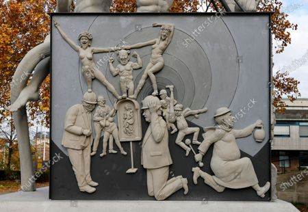 Editorial photo of S21 statue 'S 21 - The Monument - Chronicle of a grotesque derailment' in Stuttgart, Germany - 13 Nov 2020