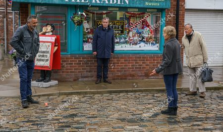 Coronation Street - Ep 10184 Wednesday 2nd December 2020 - 2nd Ep Sally Metcalfe, as played by Sally Dynevor, Dev Alahan, as played by Jimmi Harkishin, Brian Packham, as played by Peter Gunn, and Roy Cropper, as played by David Neilson, discuss Ray's latest offer. Sally's adamant that they mustn't give in to a criminal intent on destroying their community.