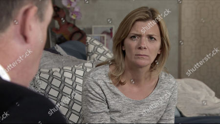 Coronation Street - Ep 10181 Monday 30th November 2020 - 1st Ep When George Shuttleworth calls at Nick Tilsley, as played by Ben Price, and Leanne TIlsley's, as played by Ben Price, flat to discuss Oliver's funeral arrangements, Leanne manically goes over all the funeral details with George.