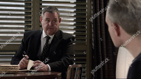 Coronation Street - Ep 10181 Monday 30th November 2020 - 1st Ep When George Shuttleworth, as played by Tony Maudsley, calls at Nick Tilsley, as played by Ben Price, and Leanne TIlsley's flat to discuss Oliver's funeral arrangements, Leanne manically goes over all the funeral details with George.