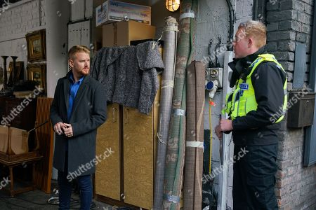 Coronation Street - Ep 10170 Monday 16th November 2020 - 2nd Ep Craig Tinker, as played by Colson Smith, calls at the furniture shop and casually quizzes Gary Windass, as played by Mikey North, about the new building project.