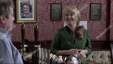 Coronation Street - 10179 Friday 27th November 2020 - 1st Ep Daisy and her boyfriend Lee, arrive for lunch. Johnny Connor, as played by Richard Hawley, tells Daisy about Aidan's death, his affair with Liz and how Jenny Connor, as played by Sally-Ann Matthews, tried to run her over. Daisy quietly enjoys Jenny's discomfort.