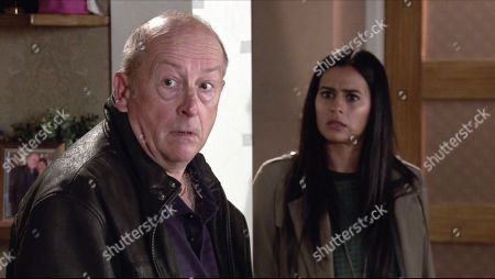 Coronation Street - 10179 Friday 27th November 2020 - 1st Ep Alya calls at No.4 and shares her suspicions about Geoff with Tim and Sally. While Geoff's out, Alya Nazir, as played by Sair Khan, and Tim Metcalfe search Geoff Metcalfe's, as played by Ian Bartholomew, house for an address in Oldham. But suddenly they're interrupted, what is Geoff's secret?