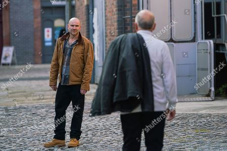Coronation Street - Ep 10175 Monday 23rd November 2020 - 1st Ep When Tim Metcalfe, as played by Joe Duttine, reveals that he's agreed to stand as a witness for the defence, Geoff Metcalfe's, as played by Ian Bartholomew, horrified.