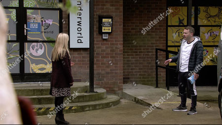 Coronation Street - Ep 10171 Wednesday 18th November 2020 - 1st Ep When Sarah Barlow, as played by Tina O'Brien, tears a strip off Paul Foreman, as played by Peter Ash, for sending out the wrong order to the hospital, Paul tells her to stick to her job and marches off.