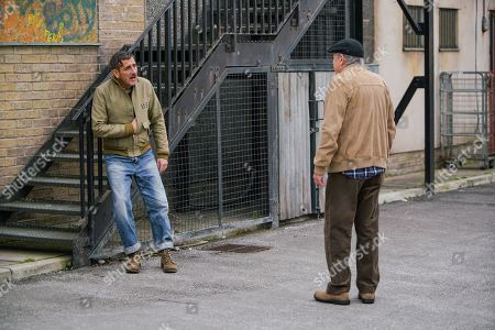Coronation Street - Ep 10170 Monday 16th November 2020 - 2nd Ep Covered in blood, Peter Barlow, as played by Chris Gascoyne, leans against a wall, the thug having stolen his taxi. Barry, a passerby, calls the police and offers Peter his hip flask full of whisky.