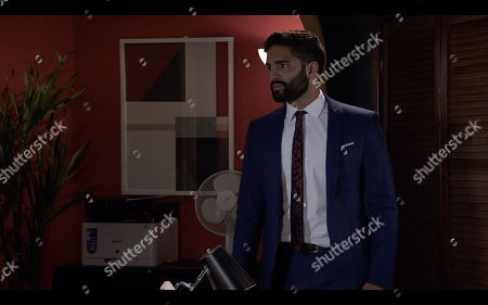 Coronation Street - Ep 10177 Wednesday 25th November 2020 - 1st Ep When Imran Habeeb, as played by Charlie de Melo, refuses to help her with the case, Leanne Tilsley pushes over a filing cabinet and locks the door.