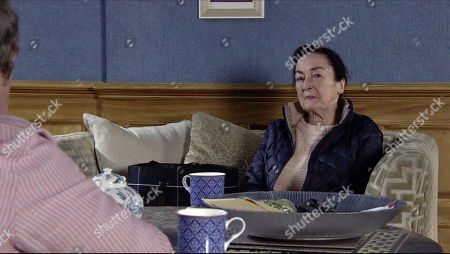 Coronation Street - Ep 10177 Wednesday 25th November 2020 - 1st Ep Margaret, as played by Jane Lowe, calls at the Rovers and explains to Jenny Connor, as played by Sally-Ann Matthews, that she's the mother of the security guard who was injured in the hit and run. Johnny Connor confesses that he was responsible for her son's death.