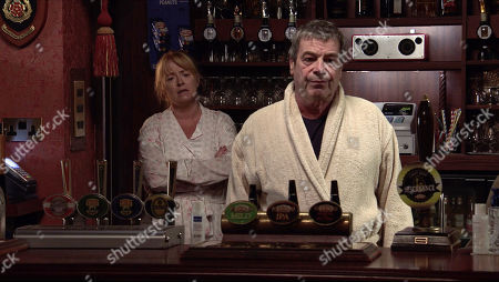 Coronation Street - Ep 10173 Friday 20th November 2020 - 1st Ep Johnny Connor, as played by Richard Hawley, and Jenny Connor, as played by Sally-Ann Matthews, find Peter Barlow in the bar, barely conscious.