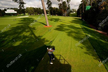 Justin Rose, of England, tees off on the 18th hole during the first round of the Masters golf tournament, in Augusta, Ga