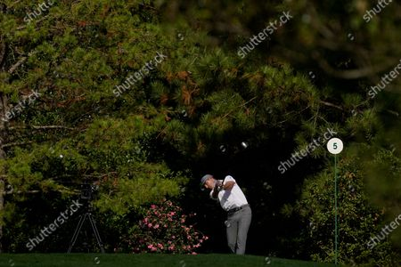 Billy Horschel hits off the fifth tee during the second round of the Masters golf tournament, in Augusta, Ga
