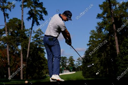 Justin Rose, of England, tees off at the 18th hole during the second round of the Masters golf tournament, in Augusta, Ga