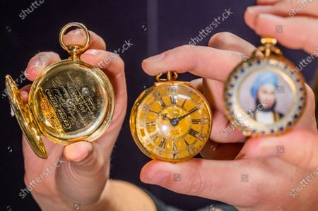 A Jules Jürgensen, Copenhagen, fine and rare United States Presidential Presentation18k gold key wind full hunter spring detent pocket watch, circa 1850, est £8,000 - 12,000 with a Thomas Tompion, a fine gold key wind pair case pocket watch, London Hallmark for 1700, est £8,000 - 10,000 and an Usher & Cole, London, 18K gold keyless wind full hunter pocket watch with enamel portrait possibly depicting Sultan Sayyid Hamad bin Thuwaini Al-Busaid of Zanzibar, London Hallmark for 1893, est £2,000 - 3,000 - Preview of Bonhams' Watches and Wristwatches Sale featuring more than 150 historic and modern timepieces, led by a trio of historic pocket watches. The sale will take place at 1pm on 17 November in Knightsbridge.