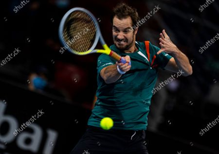 Richard Gasquet of France in action during his semi final match against Vasek Pospisil of Canada at the Sofia Open ATP 250 tennis tournament in Sofia, Bulgaria, 13 November 2020.