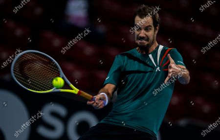 Stock Image of Richard Gasquet of France in action during his semi final match against Vasek Pospisil of Canada at the Sofia Open ATP 250 tennis tournament in Sofia, Bulgaria, 13 November 2020.