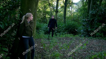 Emmerdale - Ep 8890 Tuesday 17th November 2020 In the woods, Belle Dingle, as played by Eden Taylor-Draper, hallucinates Jamie is chasing her.