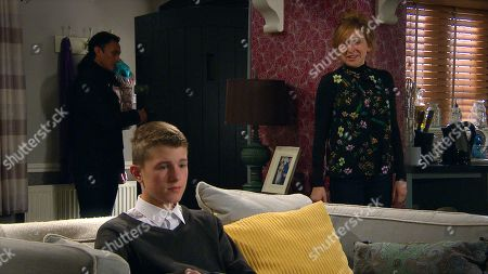 Emmerdale - Ep 8902 Tuesday 1st December 2020 Laurel Thomas, as played by Charlotte Bellamy, frets over yesterday's scan results whilst oblivious Arthur Thomas, as played by Alfie Clarke, makes disparaging comments about a pregnant teacher at school, causing stressed Laurel to react badly.