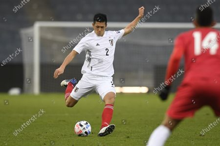 Stock Photo of Japan's Naomichi Ueda takes a shot during the international friendly soccer match between Japan and Panama at Merkur-Arena stadium in Graz, Austria