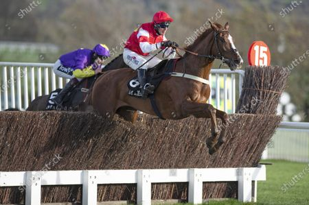 The Big Breakaway (Robbie Power) clears the 2nd last fence on their way to winning the 3m novices chaseCheltenham 15.11.20 Pic: Edward Whitaker, supplied by Hugh Routledge.