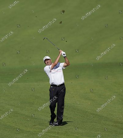 Jose Maria Olazabal of Spain hits from the fairway on the second hole during the second round of the 2020 Masters Tournament at the Augusta National Golf Club in Augusta, Georgia, USA, 13 November 2020. After being delayed seven months by the coronavirus pandemic, the 2020 Masters Tournament is being held without patrons 12 November through 15 November.