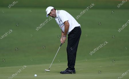 Jose Maria Olazabal of Spain putts on the second hole during the second round of the 2020 Masters Tournament at the Augusta National Golf Club in Augusta, Georgia, USA, 13 November 2020. After being delayed seven months by the coronavirus pandemic, the 2020 Masters Tournament is being held without patrons 12 November through 15 November.