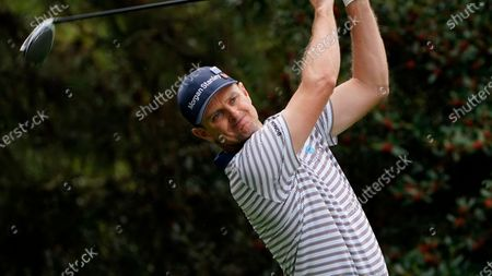 Stock Photo of Justin Rose, of England, during the first round of the Masters golf tournament, in Augusta, Ga