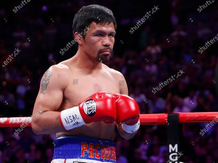Stock Picture of Manny Pacquiao prepares to fight Keith Thurman in a welterweight title fight in Las Vegas. Qatar is preparing to host the 2022 World Cup and is now looking to attract big-name boxing. Promoter Bob Arum has been in talks with Qatari officials about bringing a welterweight unification bout between Manny Pacquiao and Terence Crawford to the energy-rich Gulf nation