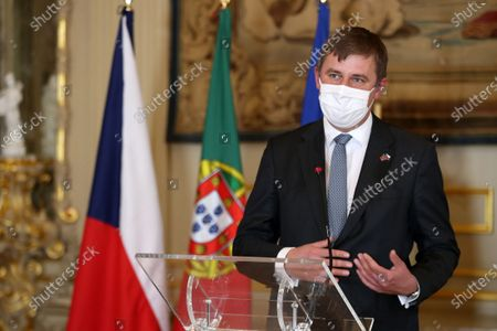 The Minister of Foreign Affairs of the Czech Republic Tomas Petrecek (L) and Portuguese Minister of State and Foreign Affairs Augusto Santos Silva (not seen) attend to a joint press conference at the end of the working meeting at Palacio das Necessidades in Lisbon, Portugal, 13 November  2020. The working meeting dealt with bilateral relations and issues of the European agenda, such as the Recovery Fund and the Multiannual Financial Framework 2021- 2027, the Portuguese Presidency of the Council of the European Union and the Rule of Law. The ministers also discussed topics related to the international agenda such as the situation in Belarus and Nagorno-Karabakh.