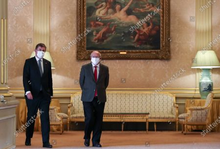 The Minister of Foreign Affairs of the Czech Republic Tomas Petrecek (L) and Portuguese Minister of State and Foreign Affairs Augusto Santos Silva (R) before attending to a joint press conference at the end of the working meeting at Palacio das Necessidades in Lisbon, Portugal, 13 November  2020. The working meeting dealt with bilateral relations and issues of the European agenda, such as the Recovery Fund and the Multiannual Financial Framework 2021- 2027, the Portuguese Presidency of the Council of the European Union and the Rule of Law. The ministers also discussed topics related to the international agenda such as the situation in Belarus and Nagorno-Karabakh.