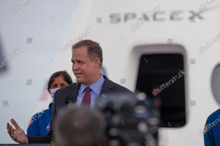 NASA Administrator Jim Bridenstine addresses reporters during a news conference at the John F. Kennedy Space Center, on Merritt Island, Cape Canaveral, Florida, USA, 13 November 2020. The Crew-1 astronauts are scheduled to launch onboard the SpaceX's Crew Dragon spacecraft on 14 November 2020 to join the Expedition 64 crew aboard the International Space Station, increasing the crew to seven astronauts.