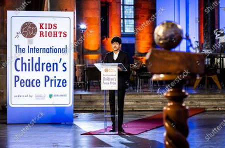 Sadat Rahman, 17, from Bangladesh receives the International Children's Peace Prize 2020 for fighting cyberbullying in his country, at a ceremony in The Hague, The Netherlands, 13 November 2020. Due to the coronavirus pandemic, the presentation takes place partly online. Pakistani human rights advocate Malala Yousafzai presented the award to the winner via a video link.