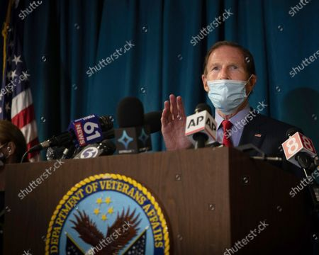 Sen. Richard Blumenthal, D-Conn, addresses the media at news conference inside the West Haven campus of the VA Connecticut Healthcare System West Haven, in West Haven, Conn. Two workers were killed in an explosion on Friday while repairing a steam pipe at a maintenance building on the hospital campus