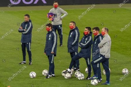 Spain's national soccer team head coach Luis Enrique (L) during a training session on the eve of the UEFA Nations League group D soccer match between Switzerland and Spain at the St. Jakob-Park stadium in Basel, Switzerland, 13 November 2020.
