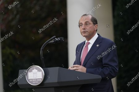 United States Secretary of Health and Human Services (HHS) Alex Azar, delivers remarks during an update on Operation Warp Speed during a press conference in the Rose Garden of the White House in Washington, DC. OWS is a public private partnership, initiated by the Trump administration, to facilitate and accelerate the development, manufacturing, and distribution of COVID-19 vaccines, therapeutics, and diagnostics.