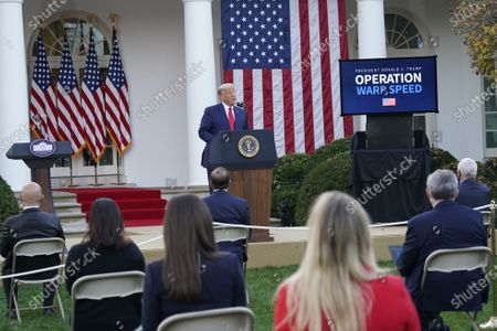 United States President Donald J. Trump delivers an update on Operation Warp Speed during a press conference in the Rose Garden of the White House in Washington, DC. OWS is a public private partnership, initiated by the Trump administration, to facilitate and accelerate the development, manufacturing, and distribution of COVID-19 vaccines, therapeutics, and diagnostics.