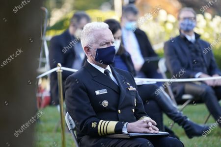 Admiral Brett Giroir, United States Assistant Secretary for Health awaits the arrival of US President Donald J. Trump who will deliver an update on Operation Warp Speed during a press conference in the Rose Garden of the White House in Washington, DC. OWS is a public private partnership, initiated by the Trump administration, to facilitate and accelerate the development, manufacturing, and distribution of COVID-19 vaccines, therapeutics, and diagnostics.